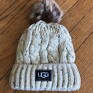 Cream cable stitch hat with Pom Pom